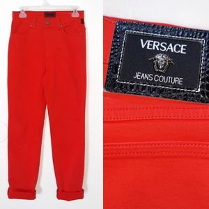 High Waist Versace Jeans Couture Red Orange Jeans